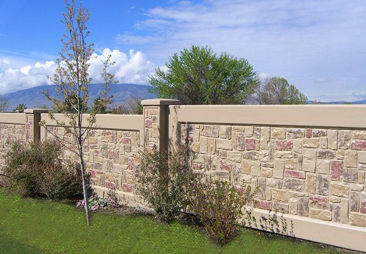 забор окрашенный бетонный монолитный